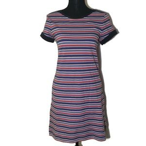 Lands' End Red, Navy, White Striped Dress Pockets